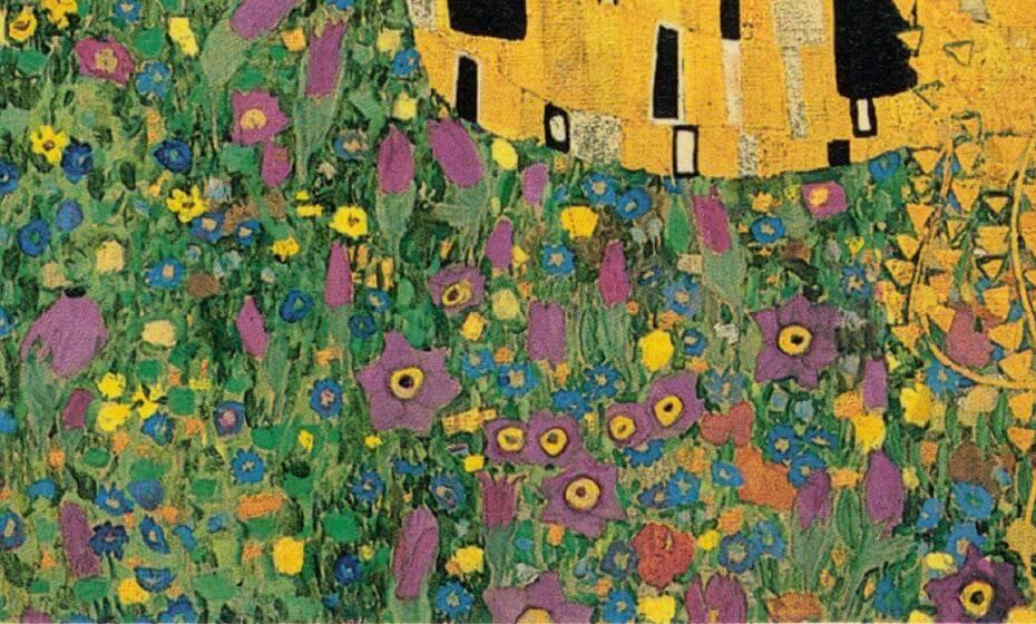 克林姆,吻(作品下方盛開的花卉),油畫,180x180cm,1907-1908年。
