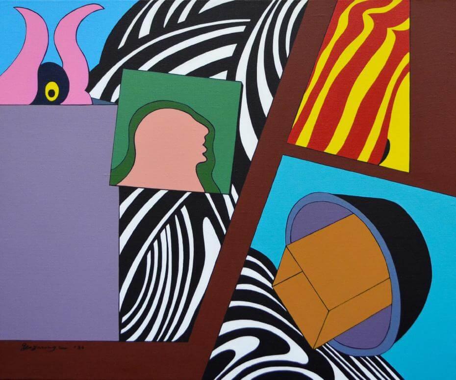 矢柳剛_宇宙人_1980_油彩 壓克力於畫布_50.0 x 60.6cm。圖/白石畫廊提供。