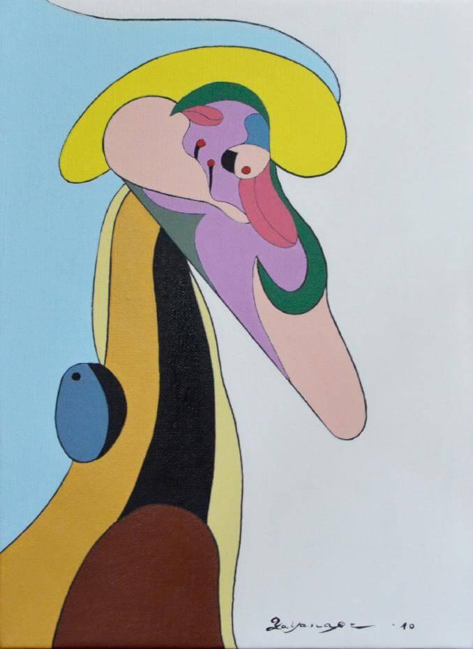 矢柳剛_笑著的宇宙人_2010_油彩 壓克力於畫布上_33.4 x 24.3cm。圖/白石畫廊提供。