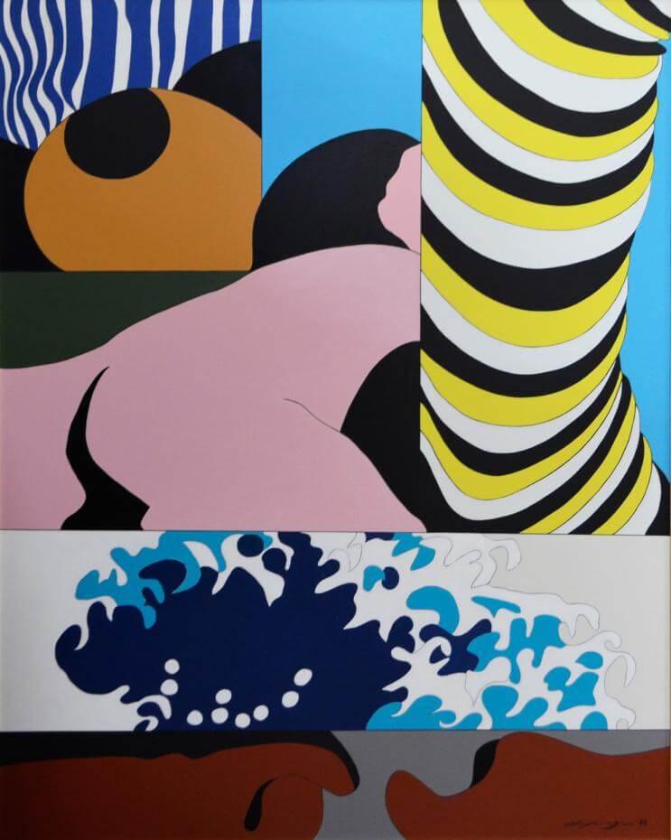 矢柳剛_海與女_1976_油彩 壓克力於畫布_116.7 x 90.9cm。圖/白石畫廊提供。