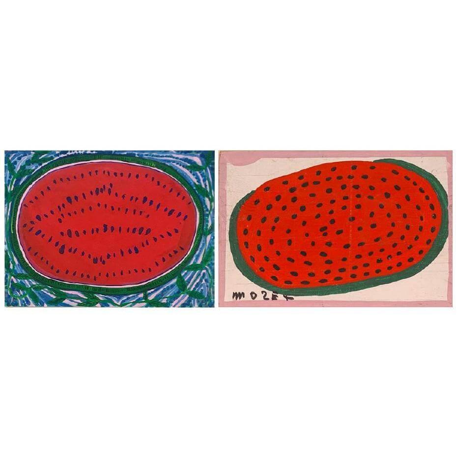 當代藝術家喬許‧史密斯(左)和已故的美籍藝術家托利亞(右)的西瓜畫作。圖/ whos____who@Instagram提供。