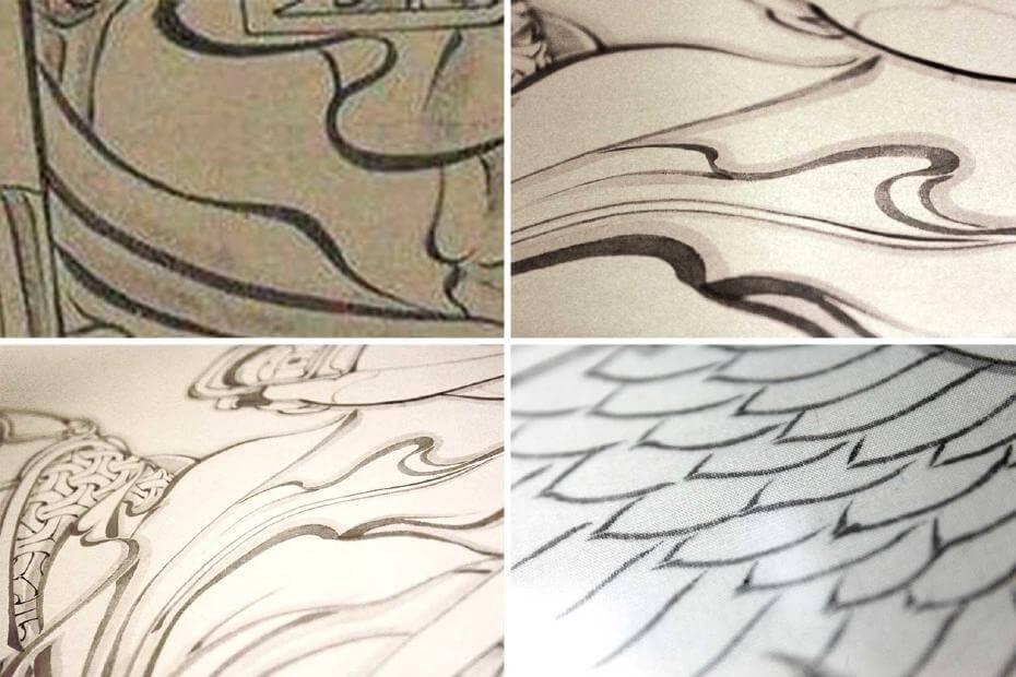 (圖左起順時針依序為)吳道子,《送子天王圖》蓴菜描法的局部。許凱翔作品蓴菜描法的細部,展現柔軟或銳利的飄逸感。圖/許凱翔提供。