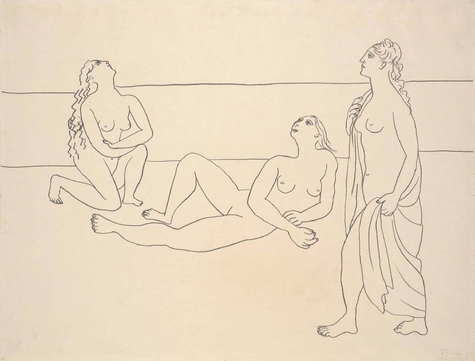Pablo Picasso,《Three Bathers by the Shore》,1920。圖取自大都會博物館。