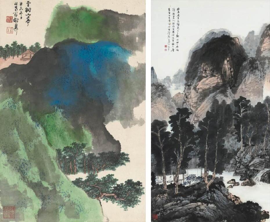 謝稚柳|雲樹山亭(局部) 73.5x47.5cm;江兆申|雲飛暮林 179x96cm