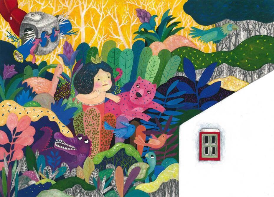 《Run Away from Home》,壓克力顏料及鉛筆等複合媒材,2017。2017JIA日本插畫協會入選作品(Winning Work Prize, JIA Illustration Award 2017)。圖/陳姵含提供。