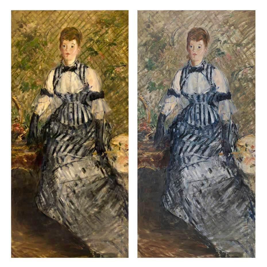 馬內《穿著條紋洋裝的女子》修復前(左)與修復後(右)。Photos: Kris McKay & Allison Chipak © Solomon R. Guggenheim Foundation, 2018。圖/古根漢美術館提供。