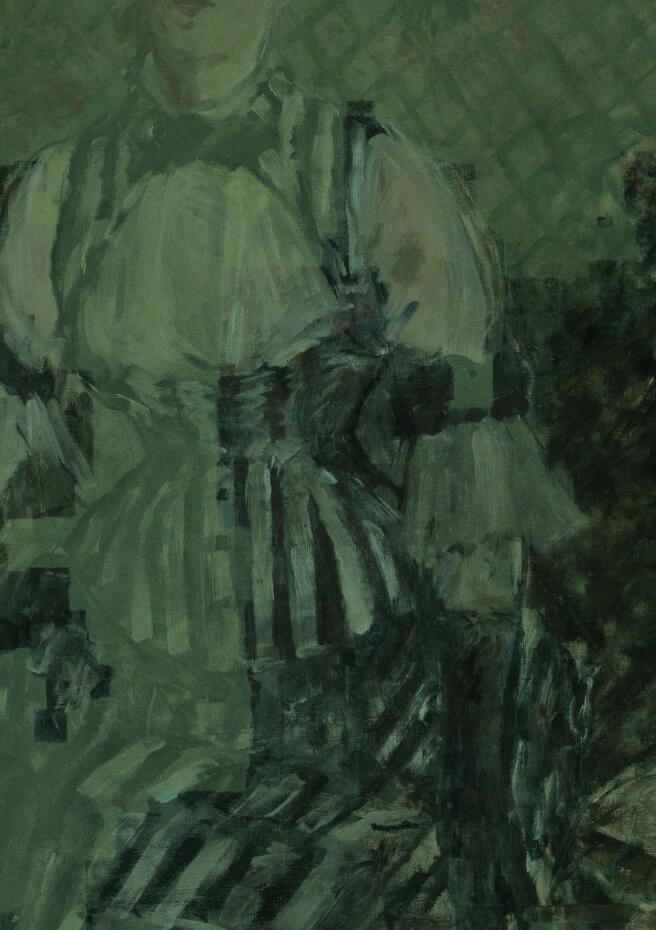 圖左半部為紫外線照射下,保護漆的白色螢光;右半部為已去除保護漆的原始畫面。Photo: Kris McKay © Solomon R. Guggenheim Foundation, 2018。圖/古根漢美術館提供。