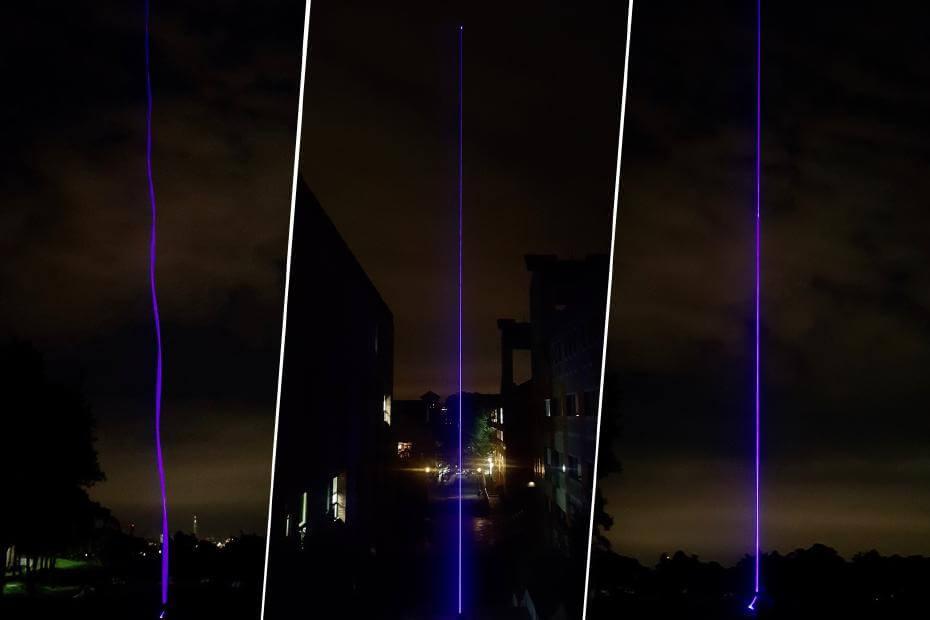 《Ultra Line ver.30》,光纖、雷射控制模組、氦氣球,10cm(L)x 10cm(W)x 3000cm(H),2017。圖/許巽翔提供。