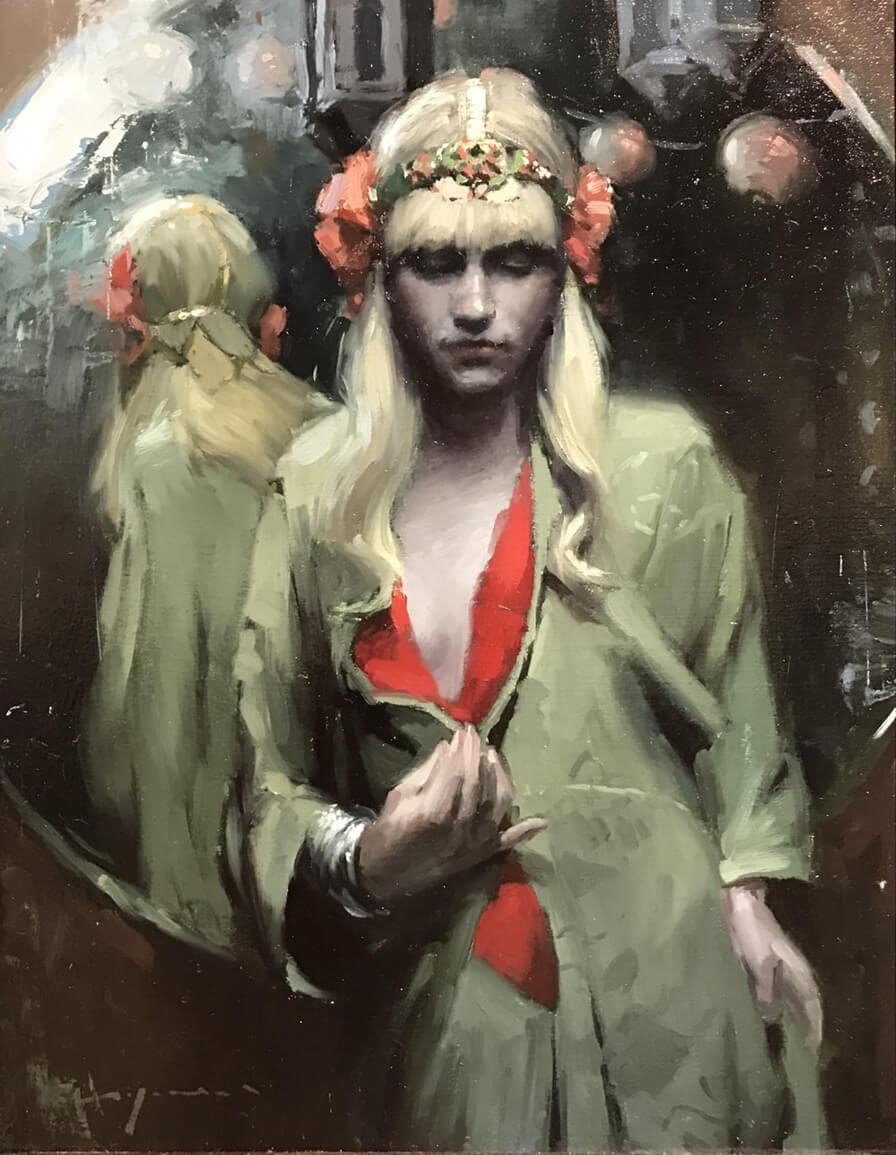 Jeremy Mann, 《Before the Mirror》, 油彩木板,2014。圖/詔藝攝。