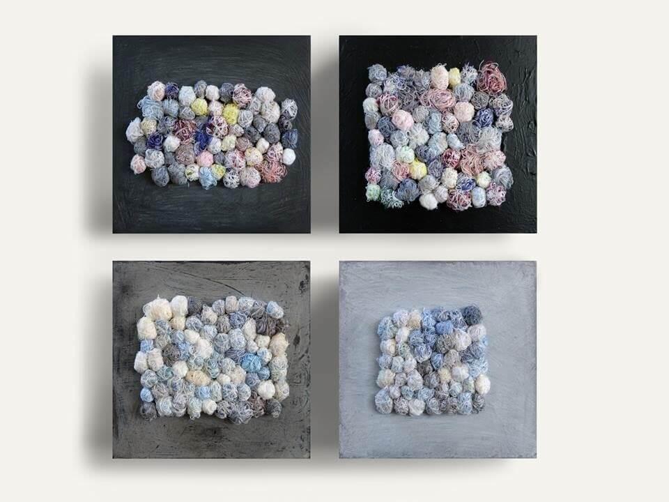 《絮語/Whisper》,線材、壓克力顏料、無酸樹脂,30 x 30 x 5cm,四件一組,2017。圖/劉鳳鴒提供。