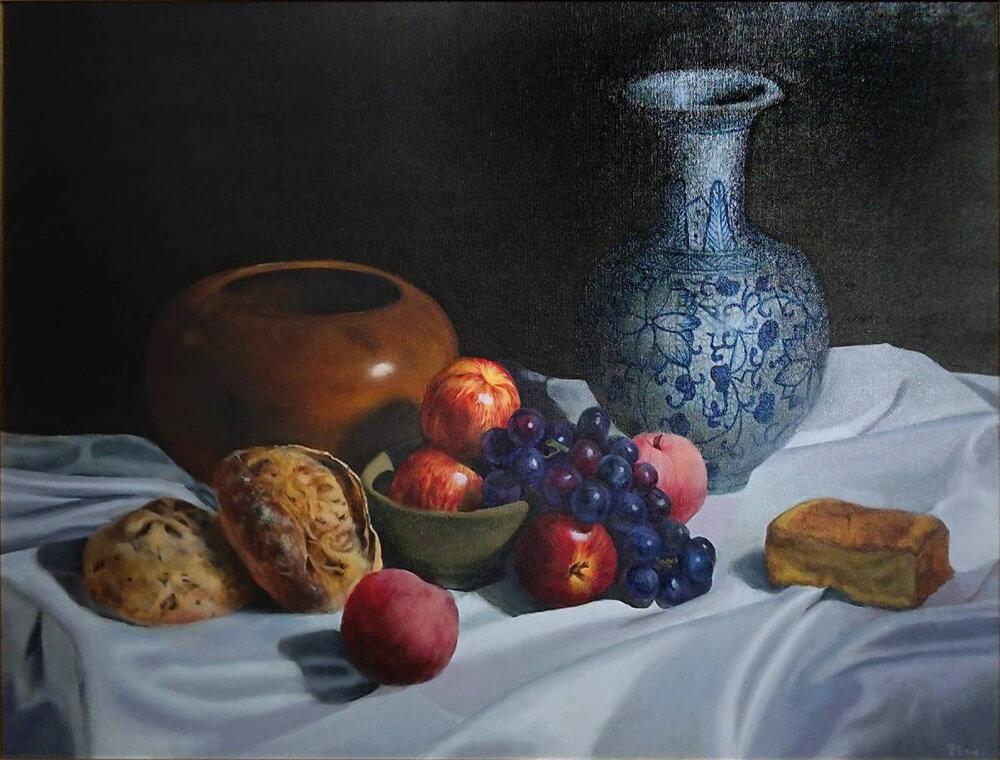《寧靜》,油彩畫布,80 x 60cm,2018。圖/曾寶萱提供。