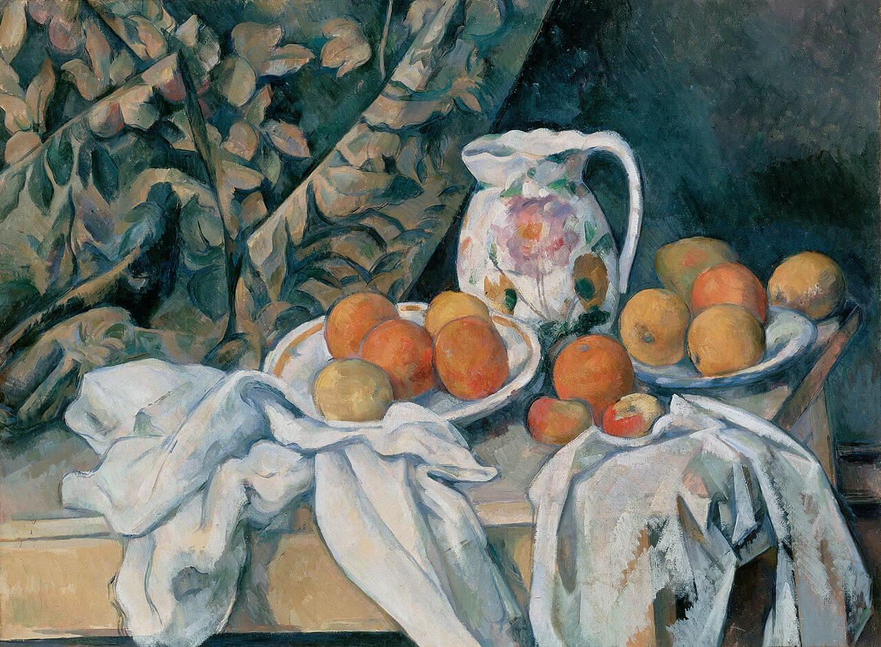保羅‧塞尚,《靜物與窗簾》。圖/wikimedia。