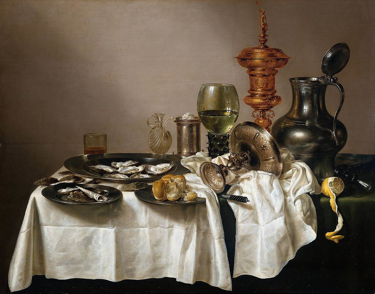 威廉‧賀達Willem Claeszoon Heda,《Still life with oysters, a rummer, a lemon and a silver bowl》。