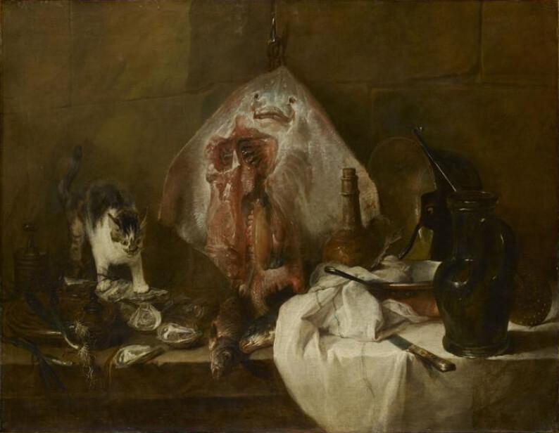 尚‧巴蒂斯‧席梅翁‧夏丹Jean Baptiste Simeon Chardin,《魟魚》(La Raie)。