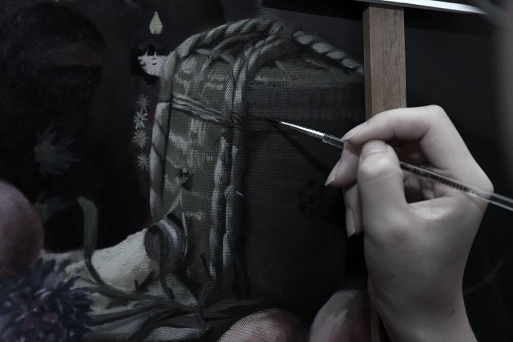 藝術家於工作室中創作一隅。圖/曾寶萱提供。