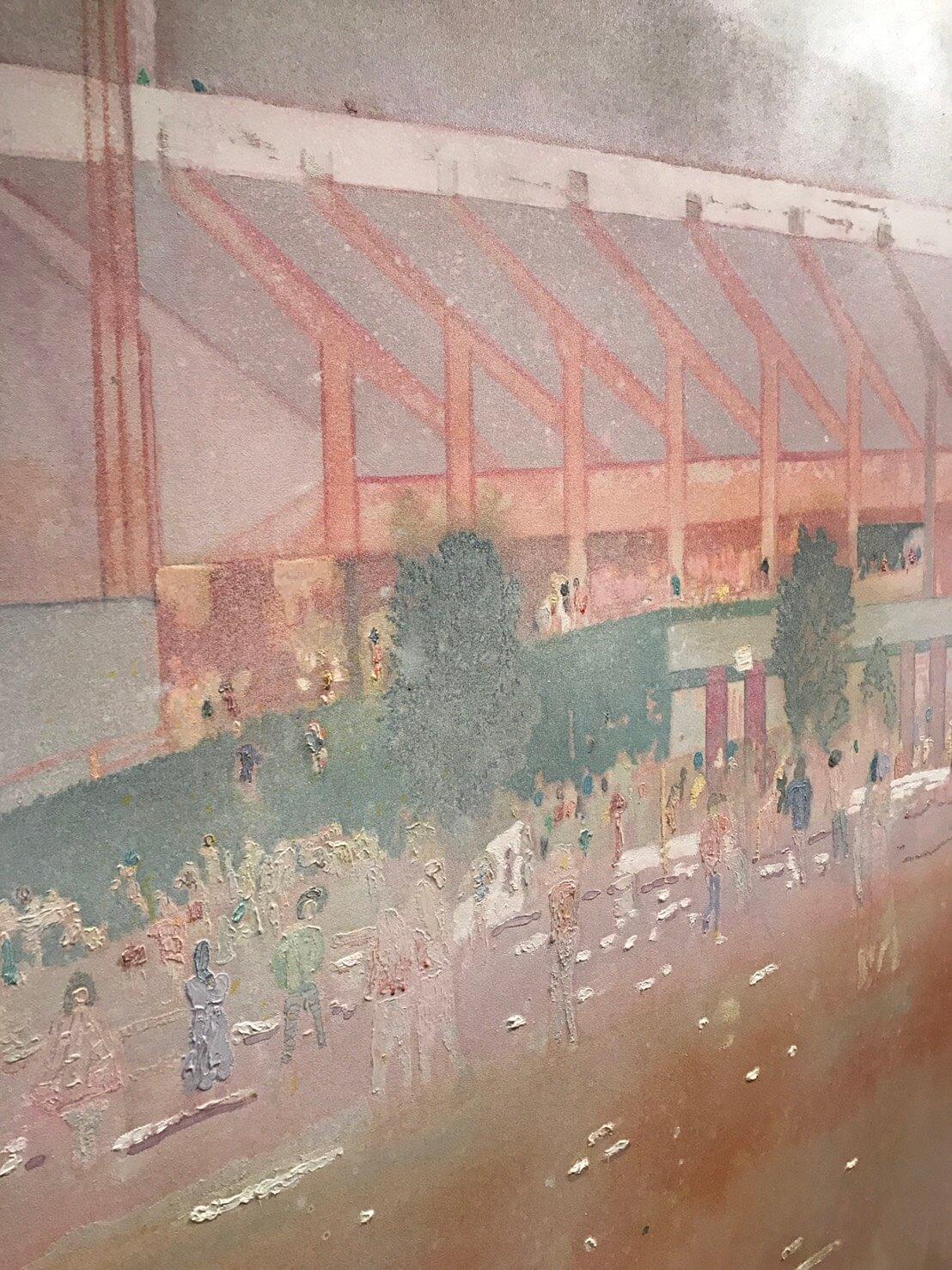 《布法羅車站I》畫作細部。圖/詔藝 攝。