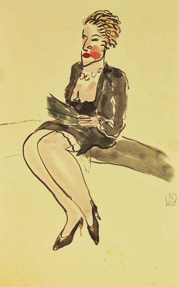 常玉,《巴黎女子》,水墨、水彩、紙本,30 × 28 cm,年代未詳。圖/台北國際藝術博覽會提供。