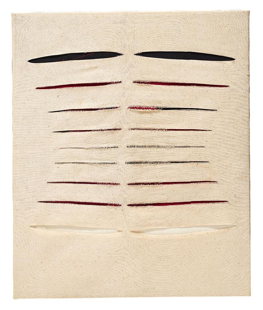 朱為白,《同緣》,綜合媒材布面,60 × 50 cm,1994。