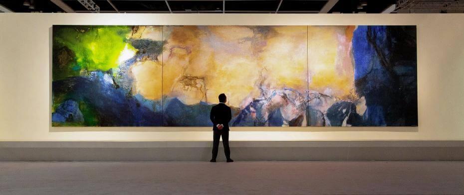 趙無極《1985年6月至10月》,油畫畫布(三聯屏),280 x 1000公分 ,1985年作。
