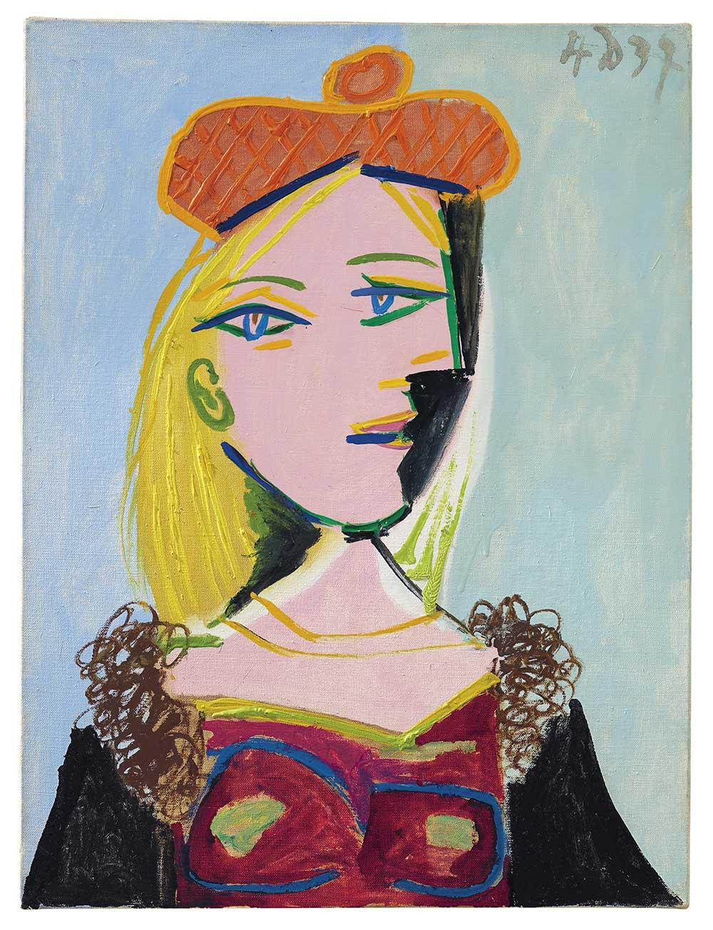 Pablo Picasso,《Femme au béret orange et au col de fourrure (Marie‐Thérèse)》,4 December 1937。預估價1500-2000萬美元。圖/佳士得提供。