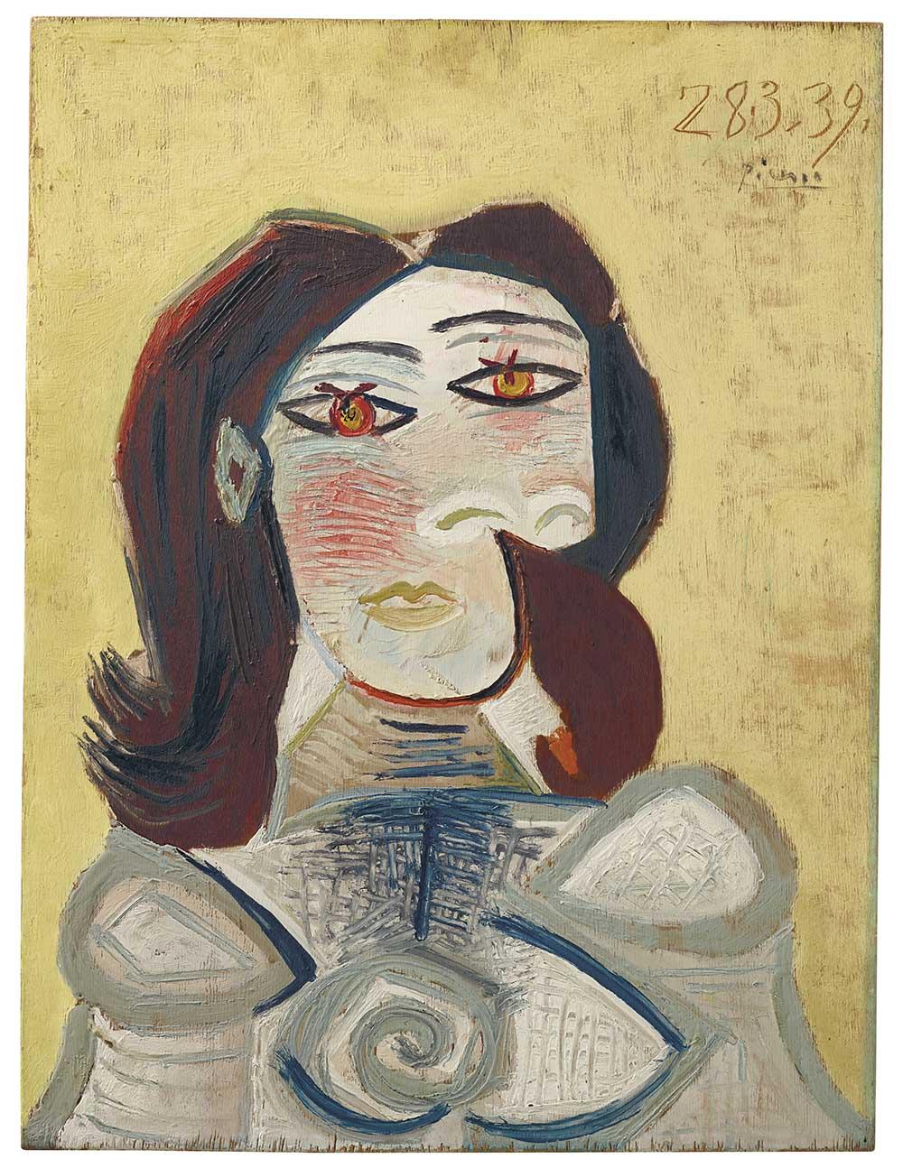 Pablo Picasso,《Buste de femme (Dora Maar)》,28 March 1939。預估價500-800萬美元。圖/佳士得提供。
