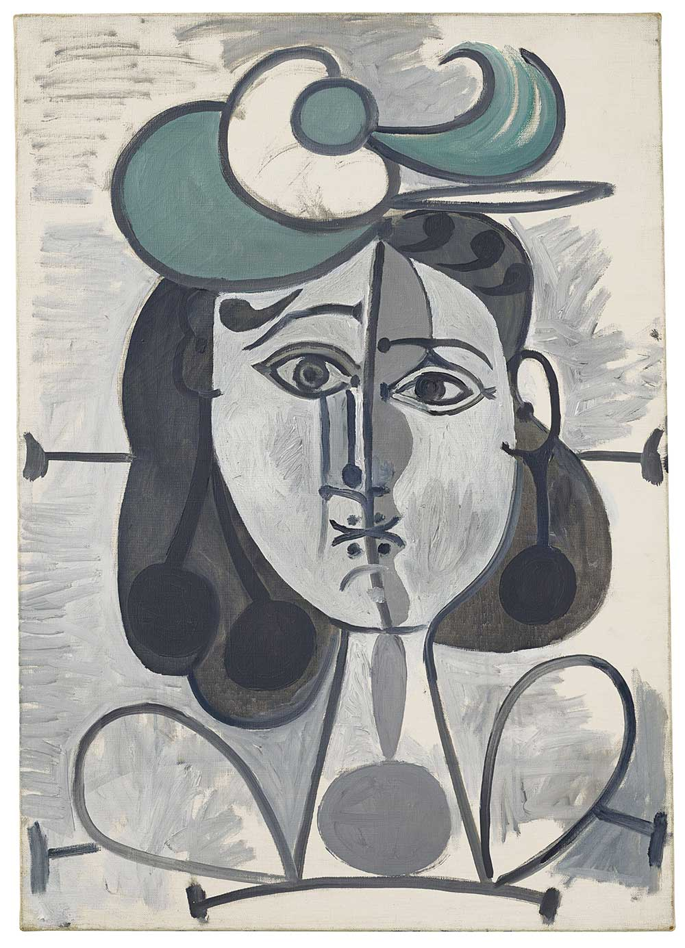 Pablo Picasso,《Portrait de Françoise Gilot》,Painted between 2 May 1947 and 26 December 1948。預估價300-500萬美元。圖/佳士得提供。