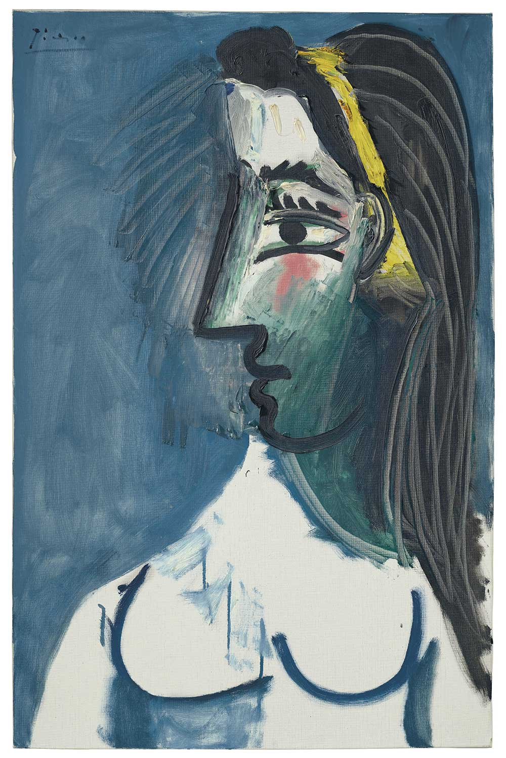 Pablo Picasso,,《Buste de femme nue (tête de profil)》,15 May 1963。預估價500-800萬美元。圖/佳士得提供。