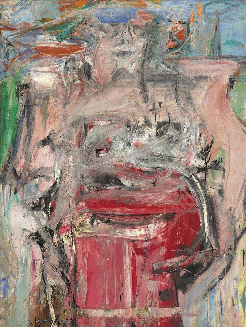 威廉•‧德•‧庫寧(Willem de Kooning),《女人風景(Woman as Landscape)》。預估價6000萬美元。將於「美國之地:巴尼•艾伯斯渥斯珍藏系列 晚拍」拍賣。圖/佳士得提供。