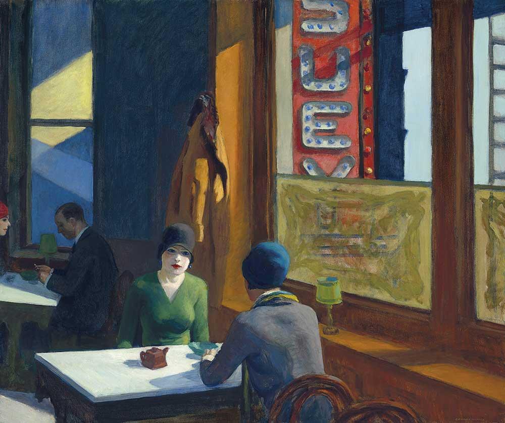 愛德華•霍普(Edward Hopper),《中餐廳(雜碎)(Chop Suey)》,1929。預估價7000萬美元。將於「美國之地:巴尼•艾伯斯渥斯珍藏系列 晚拍」拍賣。圖/佳士得提供。