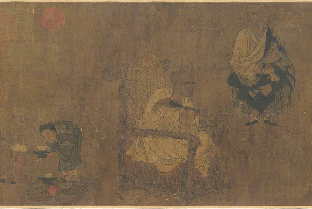 《唐閻立本畫蕭翼賺蘭亭圖》卷(局部)。圖/故宮博物院提供。
