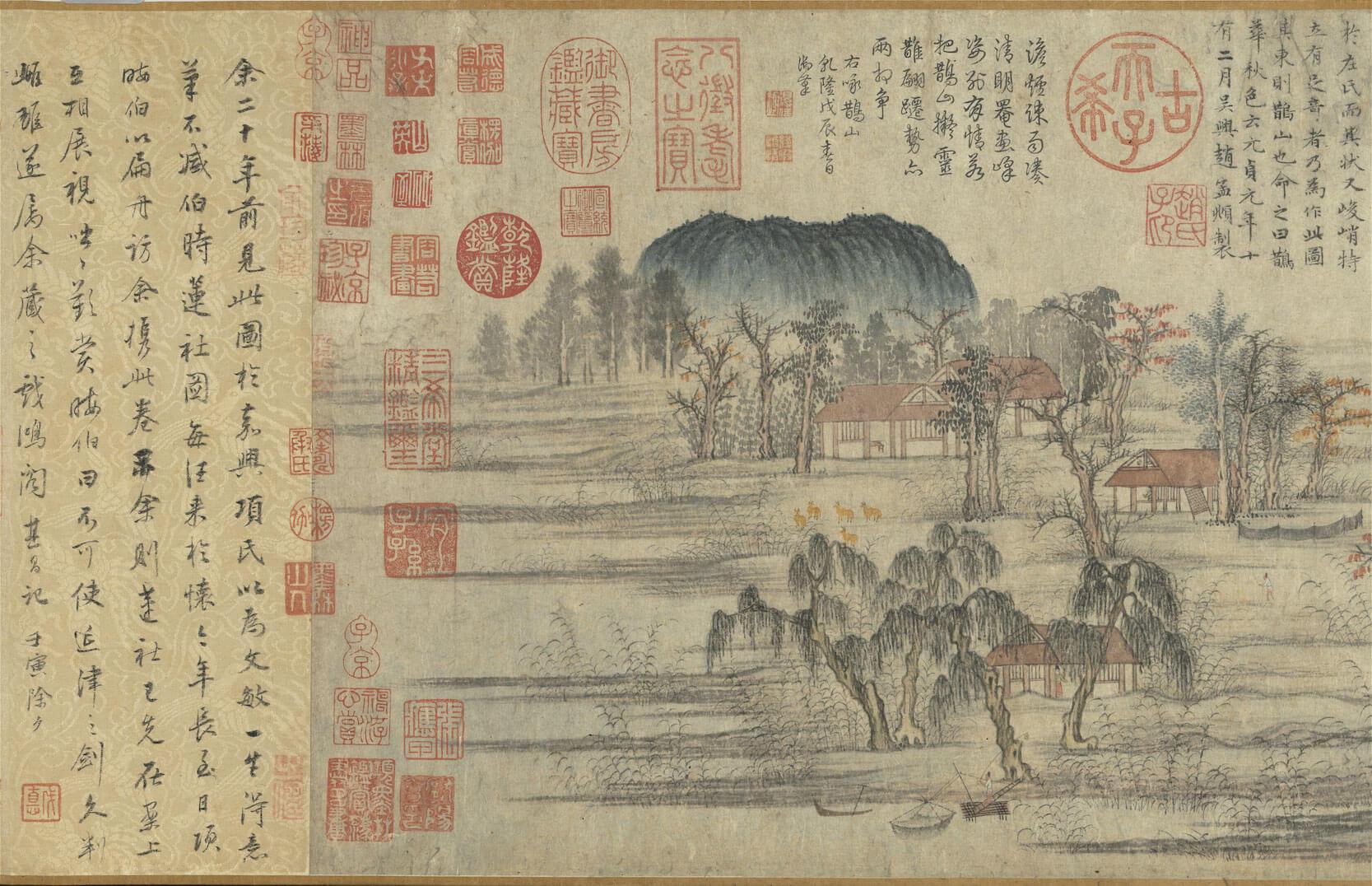 《元趙孟頫鵲華秋色》卷。圖/故宮博物院提供。
