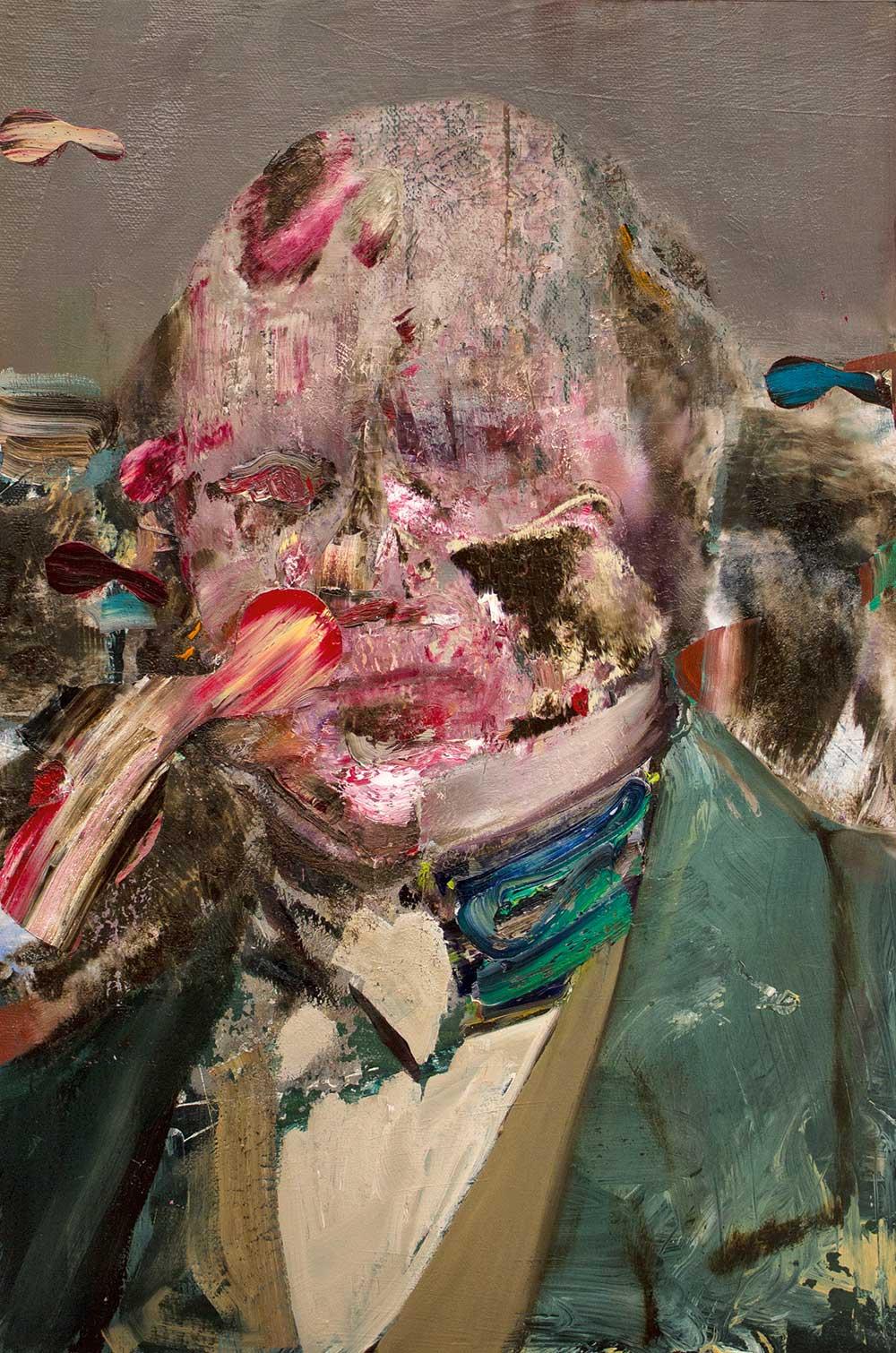 Adrian Ghenie,《Charles Darwin as a young man》,49 cm x 32.5 cm x 4.5 cm,2014,No. 60764© Adrian Ghenie。圖/Courtesy Pace Gallery。