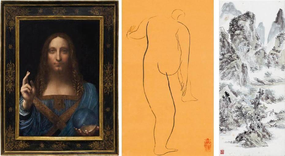 達文西|救世主 文藝復興時期;常玉|裸女素描 43x27cm;黃賓虹|幽徑春深(局部) 100x32cm