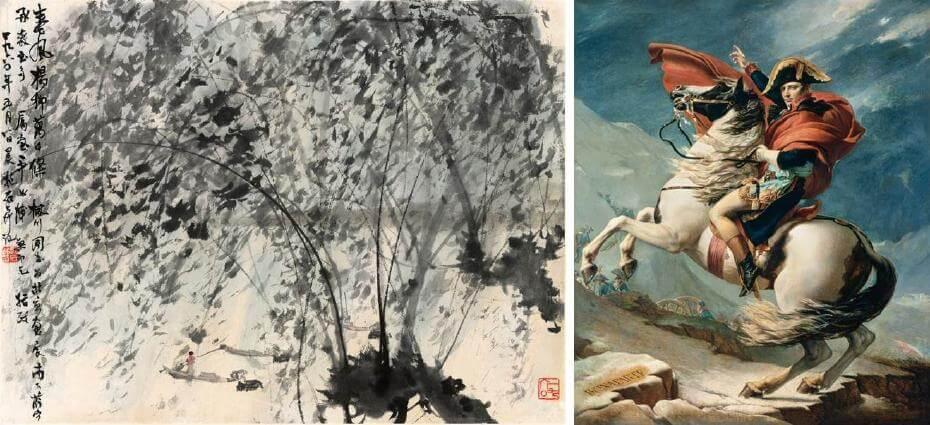 傅抱石|春風楊柳萬千條 39x52cm;大衛|拿破崙越過阿爾卑斯山 新古典主義