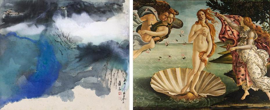 張大千|積翠鳴泉 69.5x136cm;波蒂切利|維納斯的但生 文藝復興時期