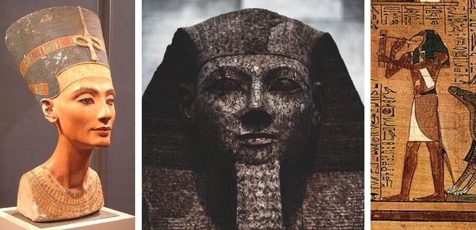 埃及王后涅菲爾蒂雕像;埃及法老王雕像;古埃及繪畫(局部)