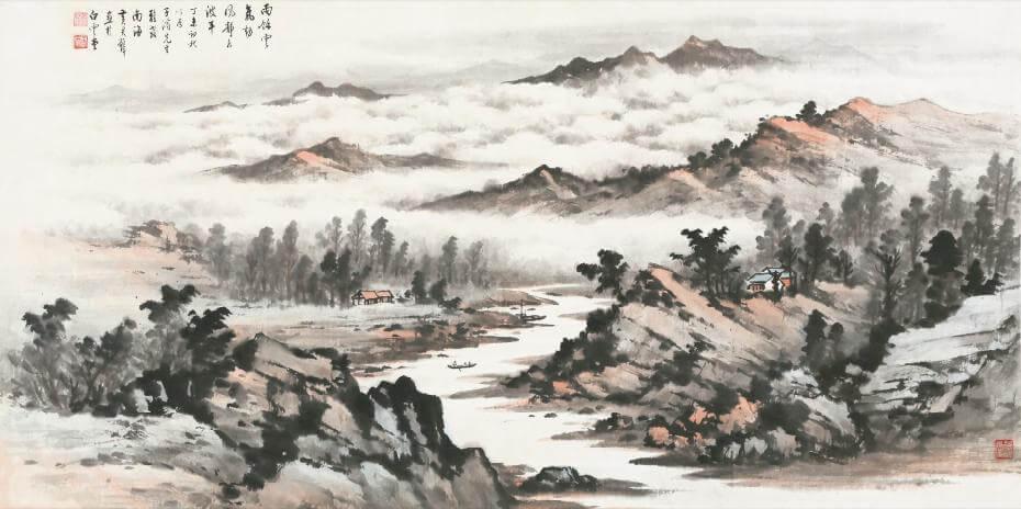 黃君璧|溪山雲海 60x122cm