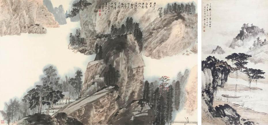 江兆申|溪堂清話 99.5x62.5cm;黃君璧|山水 114x61cm