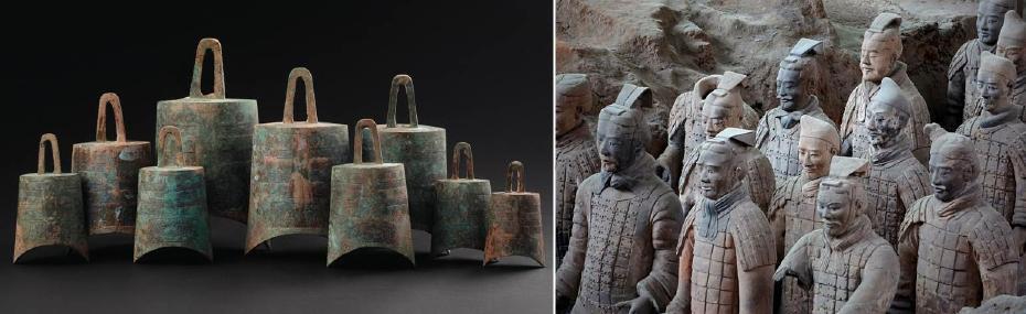 戰國 青銅編鐘九件一套;秦代 兵馬俑