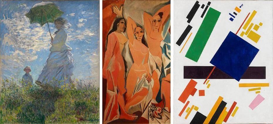 莫內|撐著洋傘的女人 印象派;畢卡索|亞維農少女(局部) 立體派;馬列維奇|絕對主義繪畫