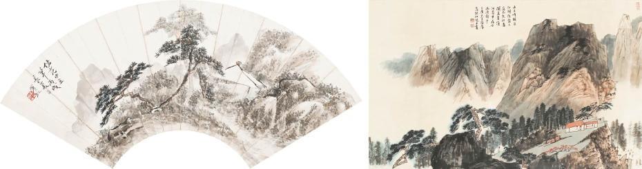 黃賓虹|仿范中立山水 L:54cm;江兆申|巾子峰頭 97.5x60cm