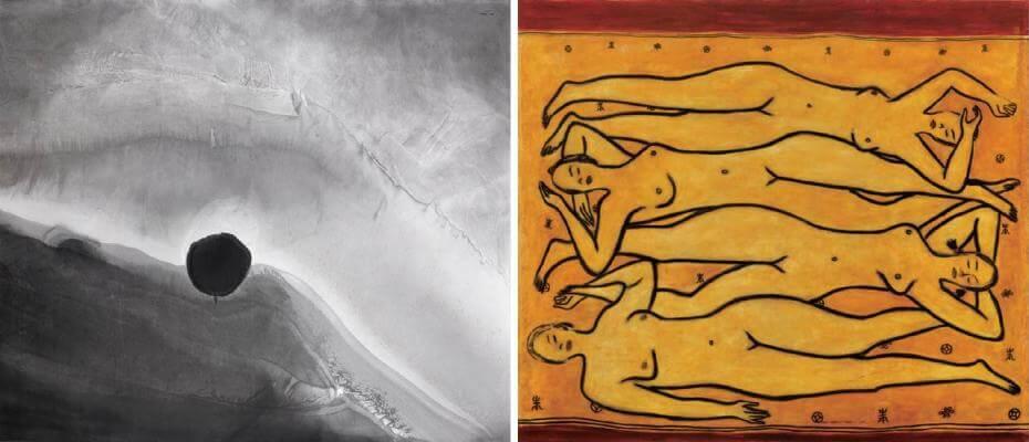 高行健|墨與光 192x220cm;常玉|四女裸像(藝術微噴)