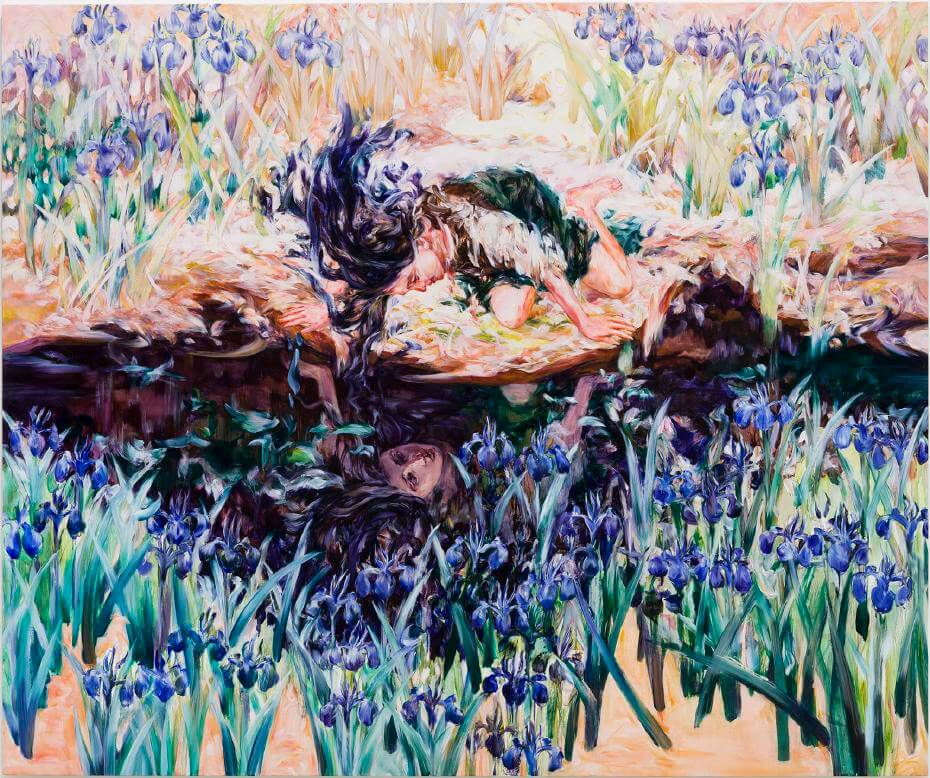 笠井麻衣子,《燕尾花與藍色頭髮的少女》,油彩畫布,2017。