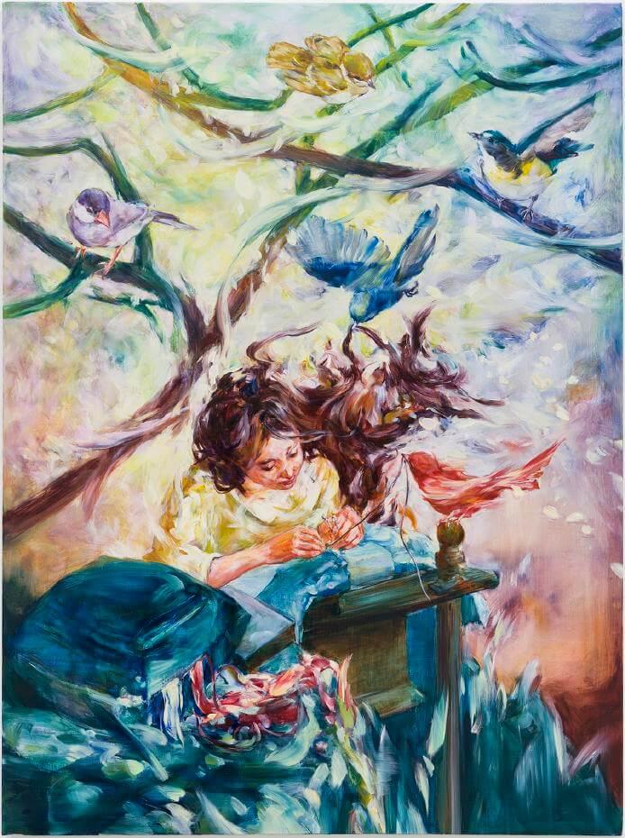 笠井麻衣子,《他們總是會幫助我》,油彩畫布,2017。