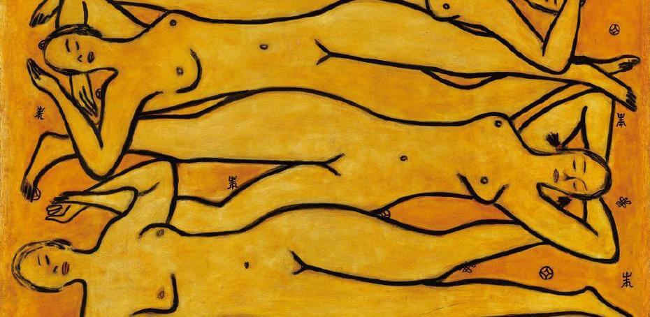 常玉|四女裸像(藝術微噴)局部當中唯一雙眼又加上兩條辮子的裸女