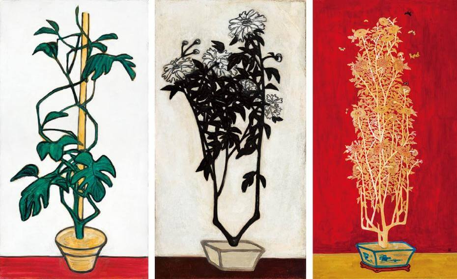 常玉|瓶花(藝術微噴);常玉|菊(藝術微噴);常玉|金黃色菊花(歷史博物館收藏)