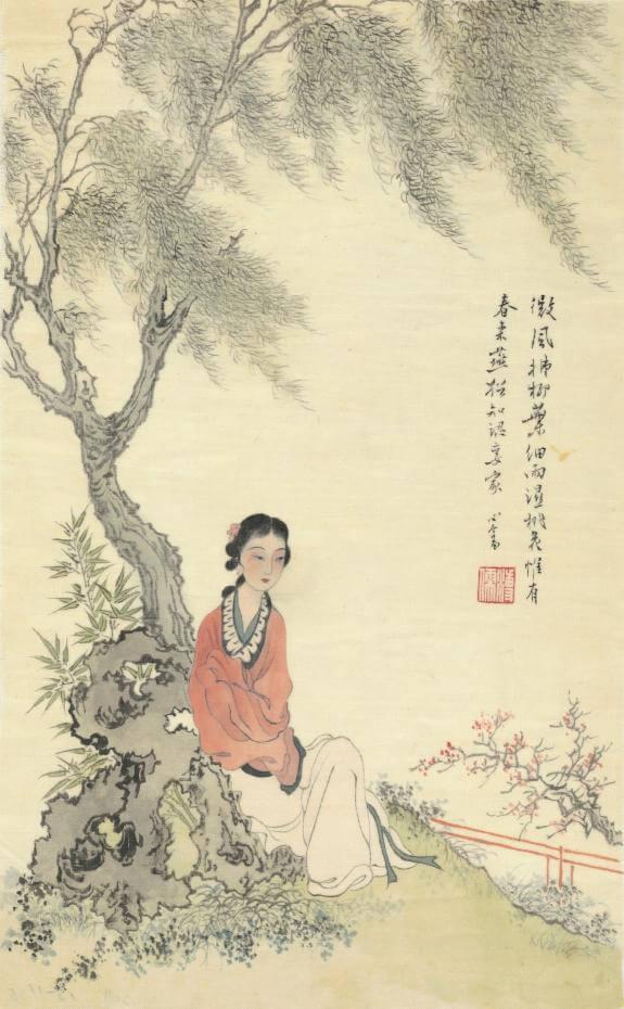 溥心畬|錦苑麗人圖,37x24公分