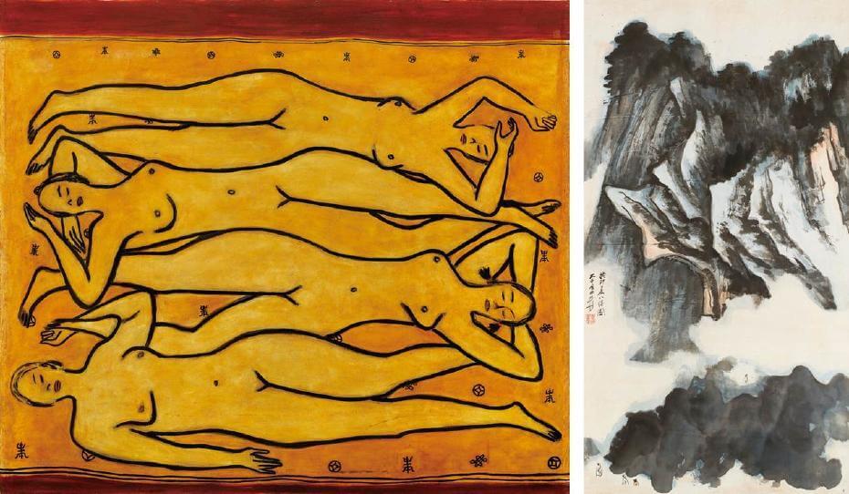 常玉|四女裸像(藝術微噴);張大千|崗巒眺思 132x70cm