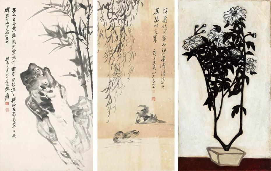 張大千|竹石圖 81.5x45cm;溥心畬|鴛鴦 85x39cm;常玉|菊(藝術微噴)