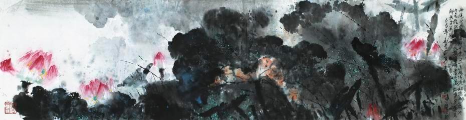 江明賢|曲院風荷 44x170cm